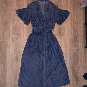 Zara Blue Denim Chambray Ruffle Sleeve Midi Dress
